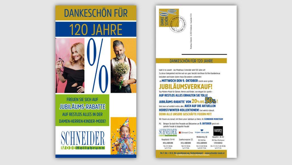 Schneider Mode Postkartenmailingg